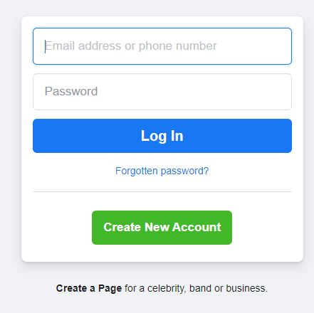 New Facebook Login Page