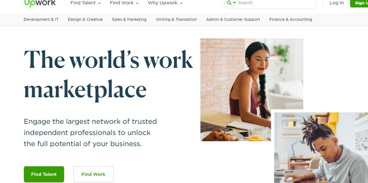 Upwork, freelance website for graphic designers