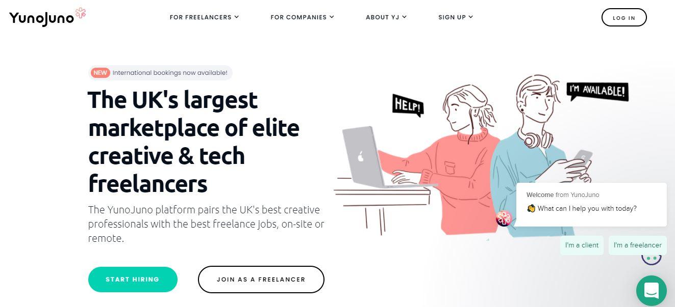 YunoJuno, Freelance designers website