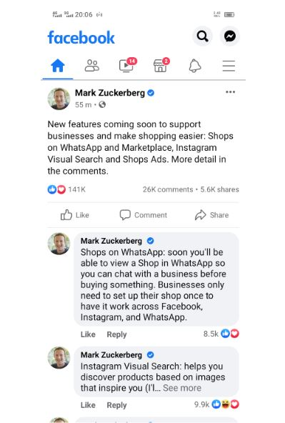new features on Facebook, Marks Post, Shops on Whatsapp