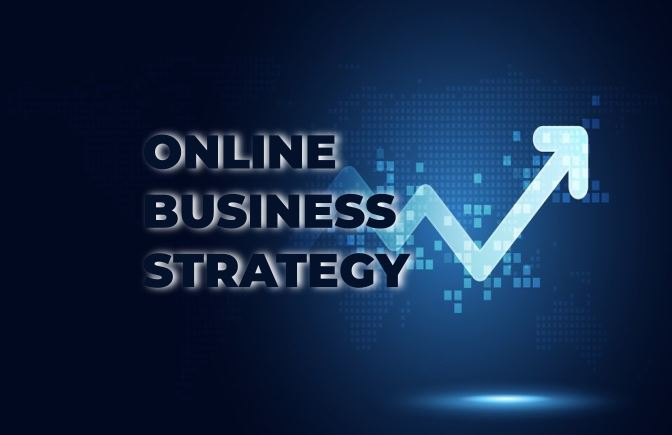 What is the first step in creating an online business strategy