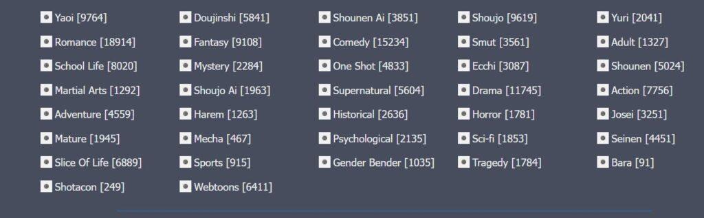 Mangago, Manga, Manga Genres